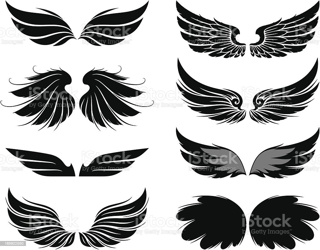 Wings set royalty-free wings set stock vector art & more images of black color
