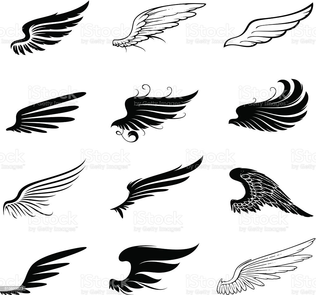 Wings set vector art illustration