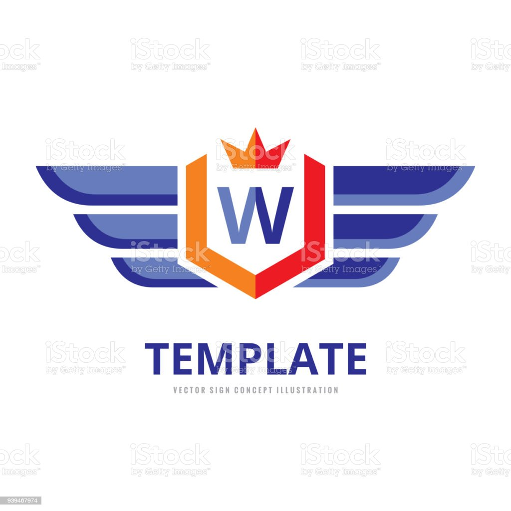 Wings Shield Crown Vector Business Sign Template Concept ...