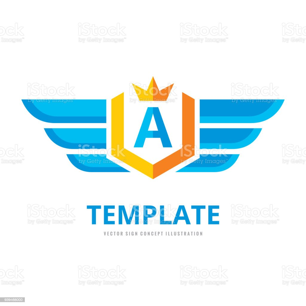 wings shield crown vector business sign template concept