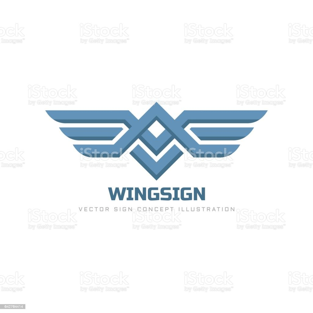 Wings sign - vector logo template concept illustration. Transport abstract symbol. Design element. vector art illustration