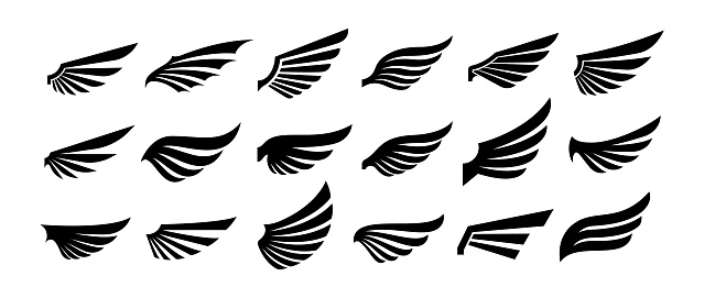 Wings silhouette icons set.