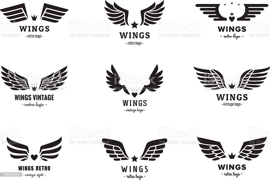 Wings Silhouette Logo Vector Set Vintage Design Part One Stock