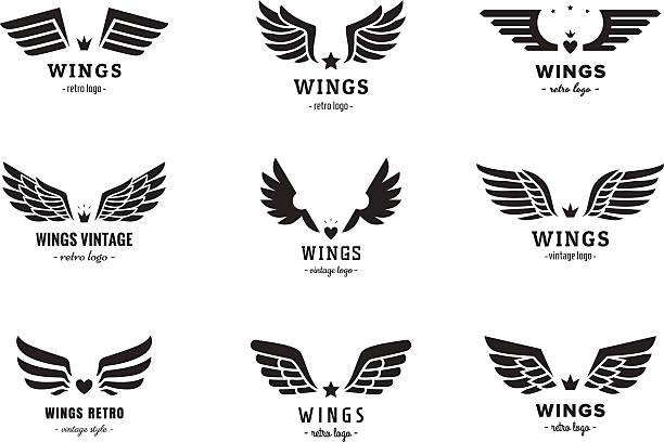 wings silhouette logo vector set. vintage design. part one. - animal limb stock illustrations