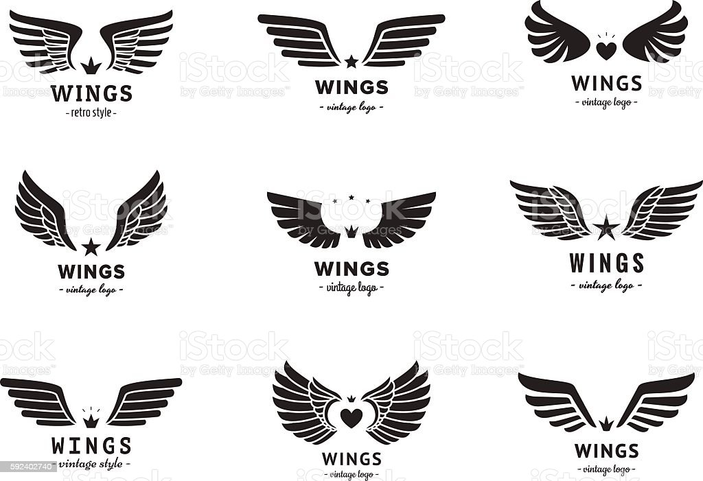 Wings silhouette logo vector set. Vintage design. Part two. vector art illustration