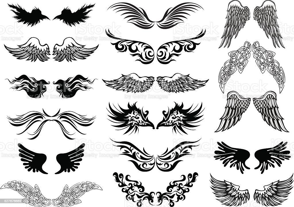 Skrzydła Tatuaż Wektor Zestaw Stockowe Grafiki Wektorowe I