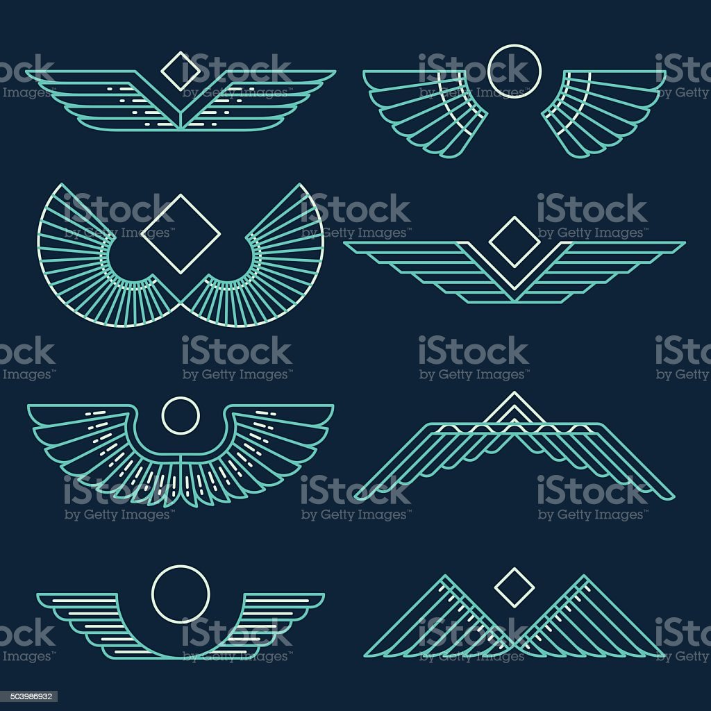 Wings template vector illustration linear style vector art illustration