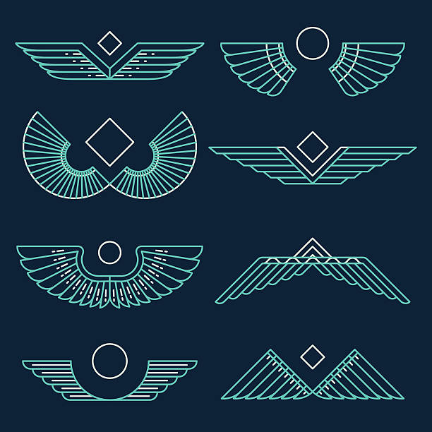 Wings template vector illustration linear style Set of wings template design elements vector illustration linear style egypt stock illustrations