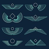 Wings template vector illustration linear style