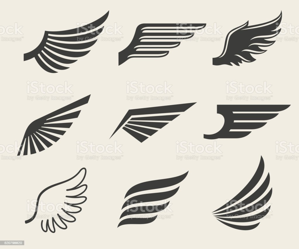 Wings vector icons set vector art illustration