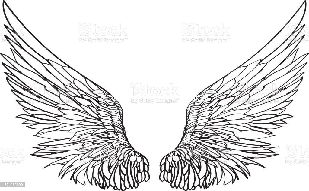 翼白の背景にベクトル イラスト黒と白のスタイル 2人のベクターアート