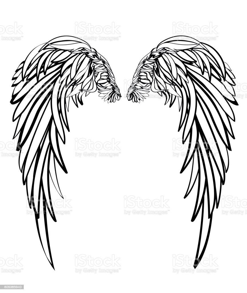翼白の背景にベクトル イラスト黒と白のスタイル アイコンのベクター