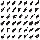 Wings vector set of icons