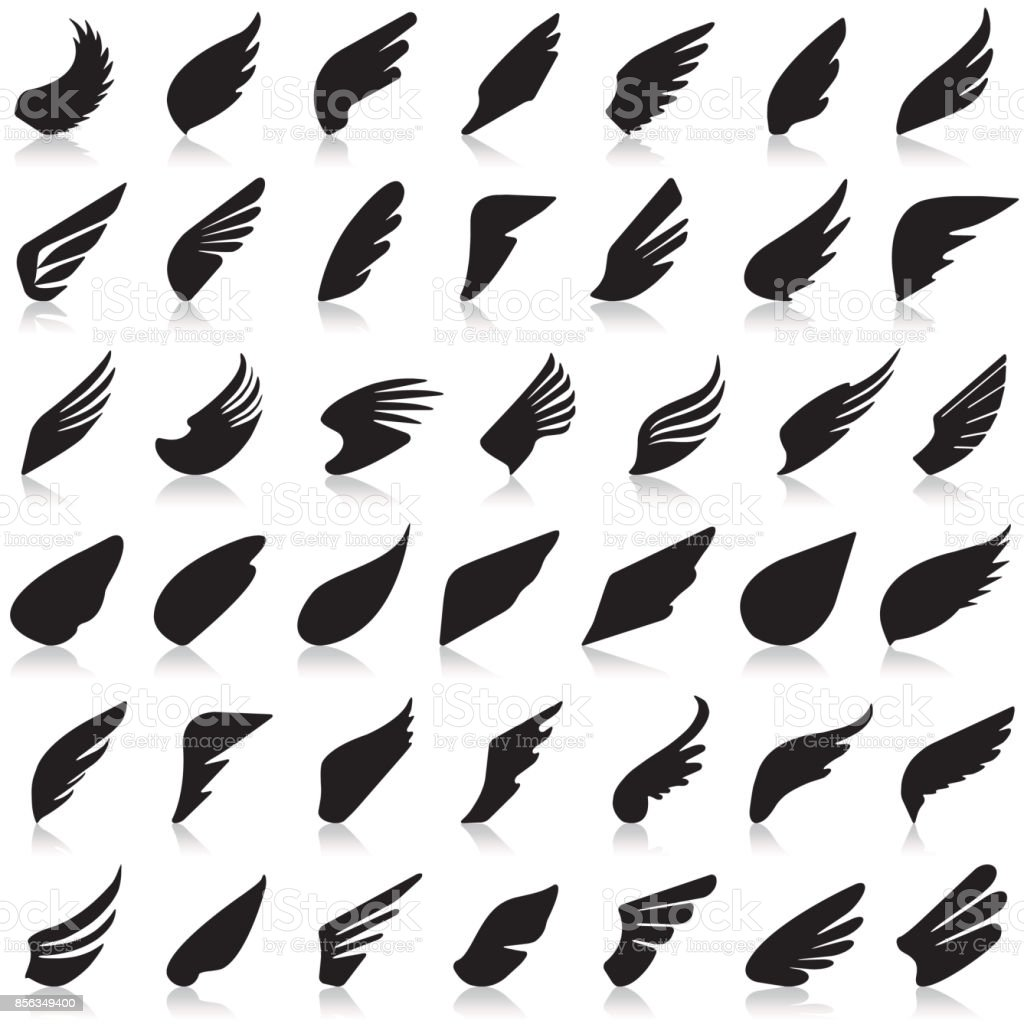 Wings vector set of icons vector art illustration