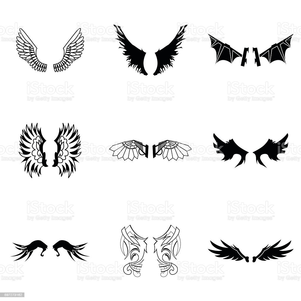 Wings vector set Lizenzfreies wings vector set stock vektor art und mehr bilder von abstrakt