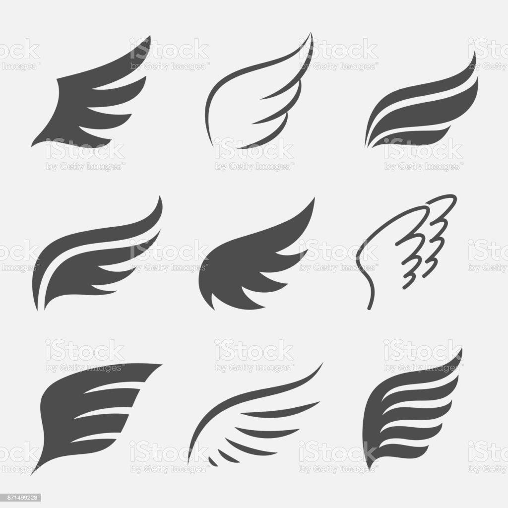 Conjunto de vetor de asas - ilustração de arte em vetor