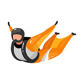 Wingsuit flying flat vector illustration. Freefalling, skydiving experience. Extreme sports. Active lifestyle. Outdoor activities. Skydiver isolated cartoon character on white background