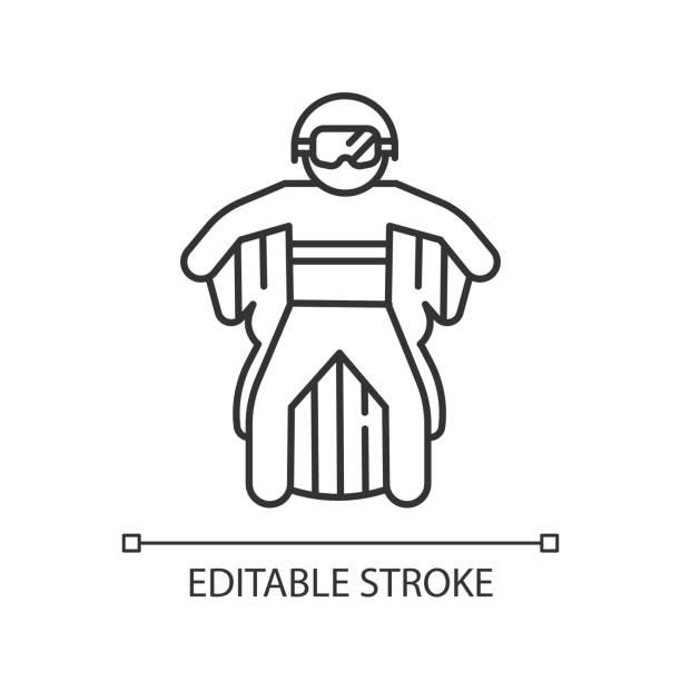 ilustrações, clipart, desenhos animados e ícones de wingsuit voando ícone linear. skydiver pulando com fato de asa. skydiving. esporte extremo aéreo. pára-quedista voando. ilustração de linha fina. símbolo de contorno. desenho de contorno isolado vetorial. traçado editável - ícones de design planar