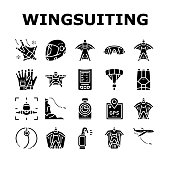 Wingsuiting Sport Collection Icons Set Vector. Wingsuiting Suit And Protection Helmet, Glasses And Gloves, Parachute And Hook Extreme Flying Tool Glyph Pictograms Black Illustrations