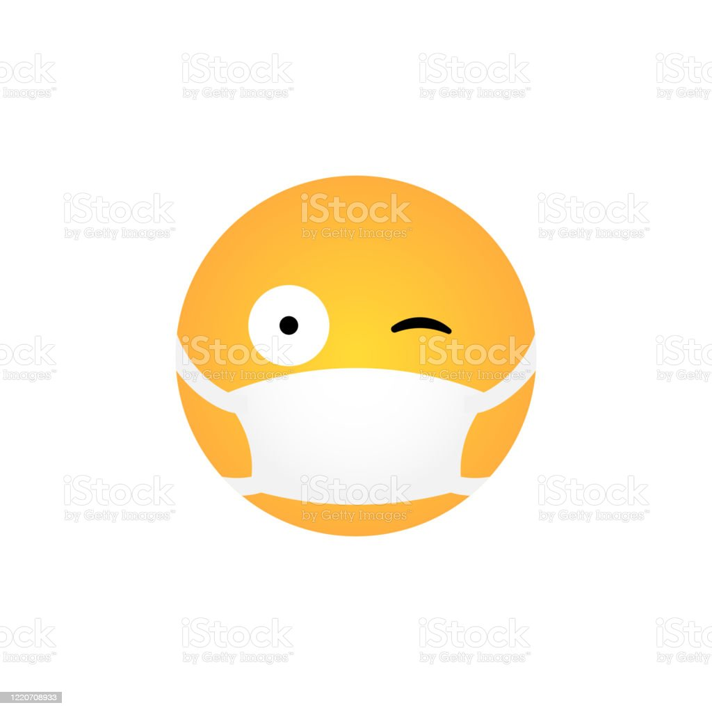 Wink Emoticon With Medical Mask Stock Illustration Download Image Now Istock