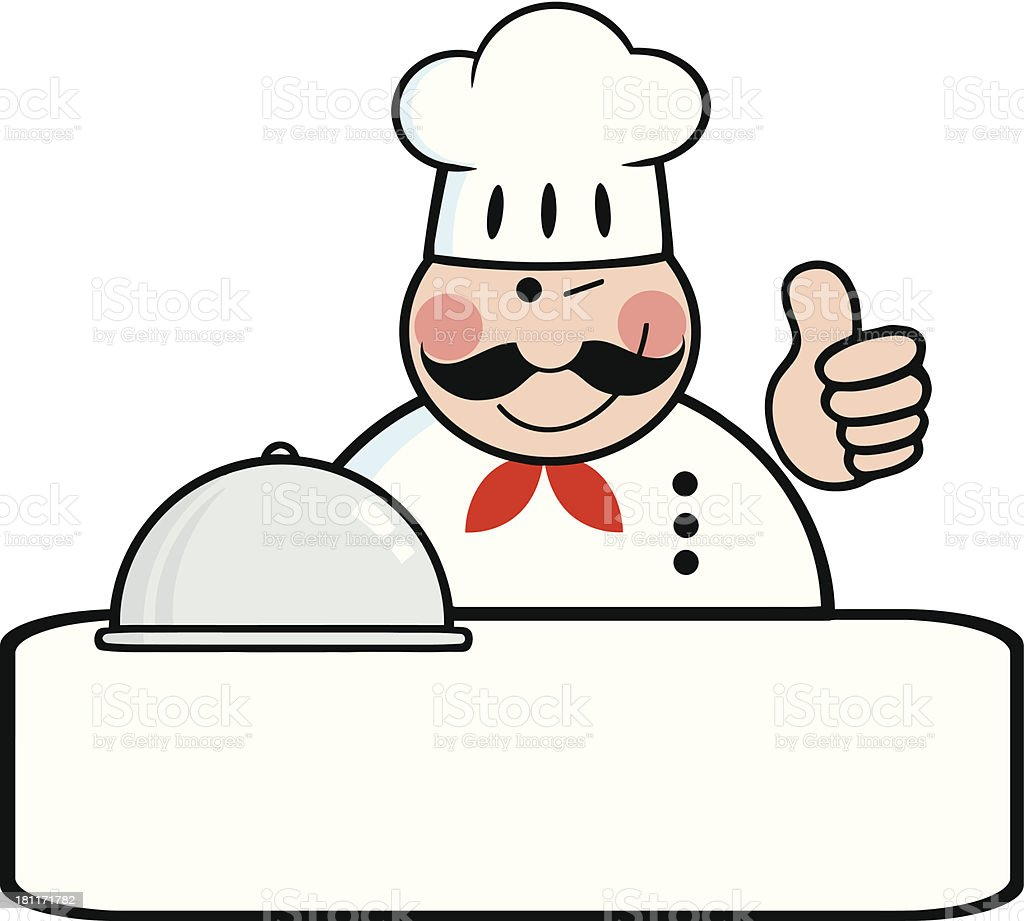 Winked Chef Logo Banner With Platter Showing Thumbs Up royalty-free stock vector art