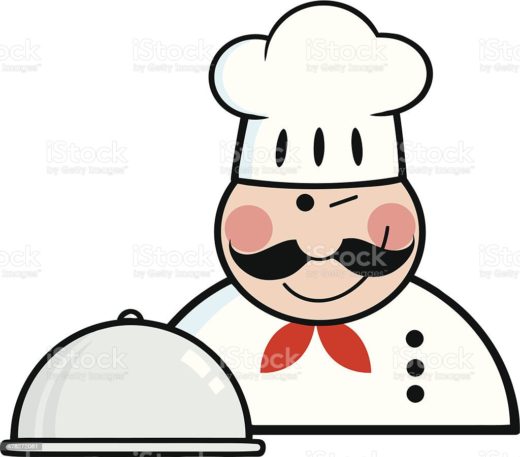 Winked Chef Logo With Platter royalty-free stock vector art