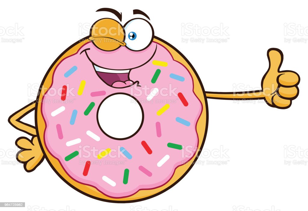 Winking Donut Cartoon Mascot Character With Sprinkles Giving A Thumb Up royalty-free winking donut cartoon mascot character with sprinkles giving a thumb up stock vector art & more images of breakfast