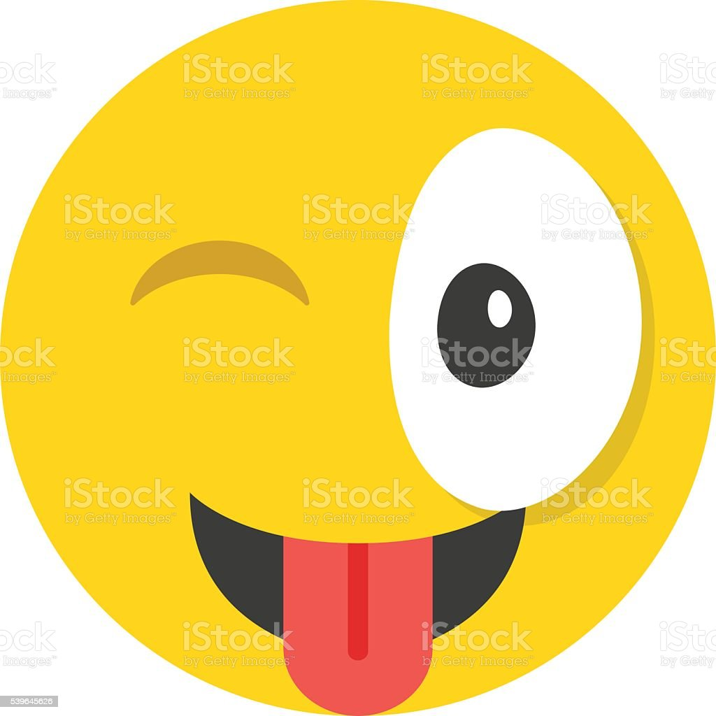 Winking emoticon. Cute emoticon winks and shows tongue vector art illustration