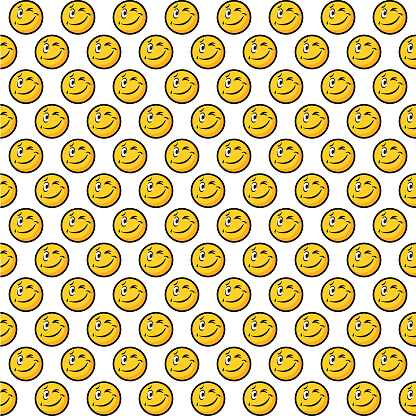 Winking emoticon emoji, seamless, repeating pattern