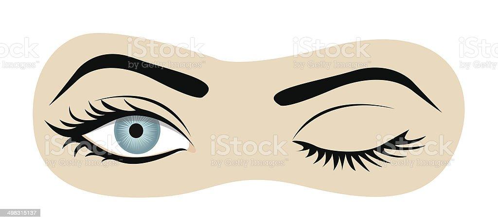winking eyes vector art illustration