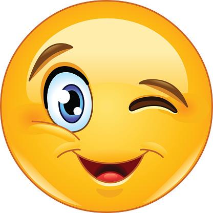 Zwinkern Gesicht Emoticon Stock Vektor Art und mehr Bilder von Berühren - iStock