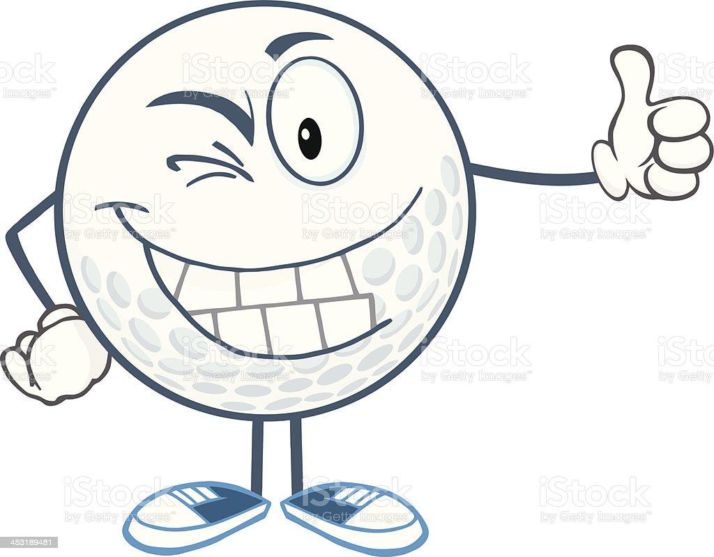 Winking Golf Ball Holding A Thumb Up royalty-free stock vector art