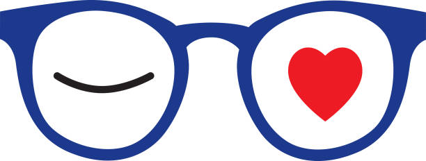 Winking Heart Eyeglasses Vector illustration of pair of eyeglasses with a winking eye in one lens and a red heart in the other. flirting stock illustrations