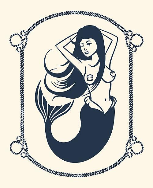 winking mermaid illustration - mermaid tattoos stock illustrations, clip art, cartoons, & icons