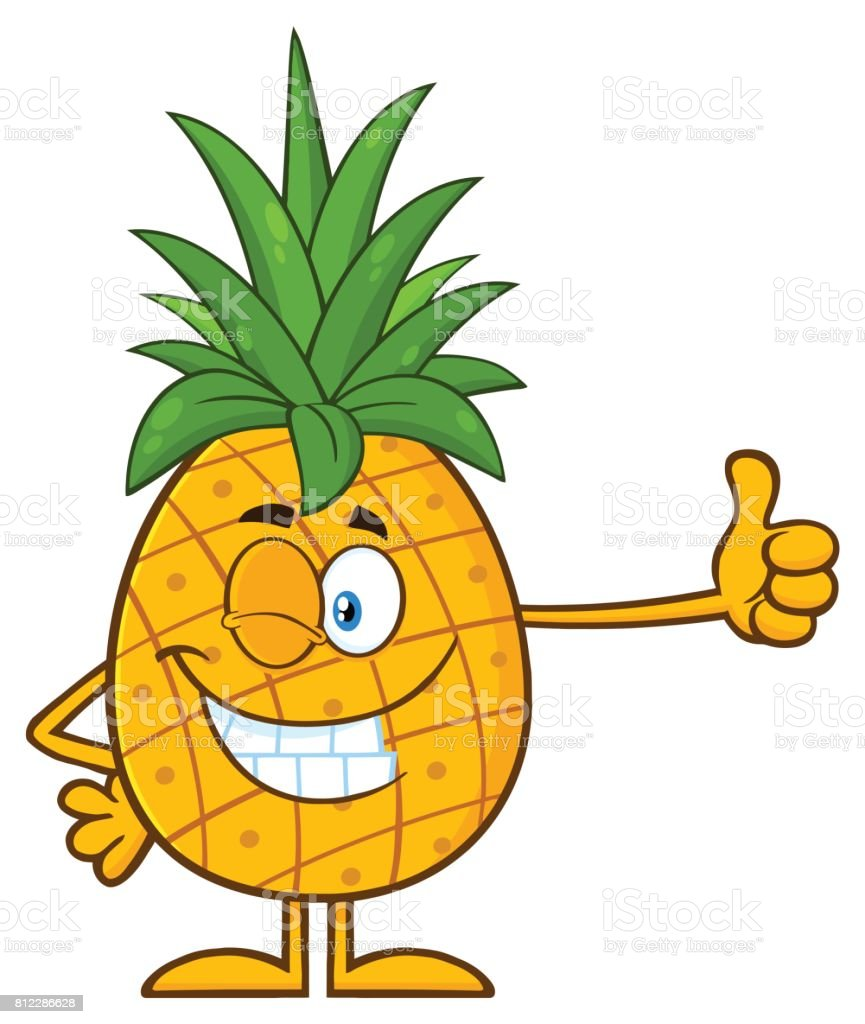 Winking Pineapple Fruit With Green Leafs Cartoon Mascot Character Giving A Thumb Up Stock Illustration Download Image Now Istock