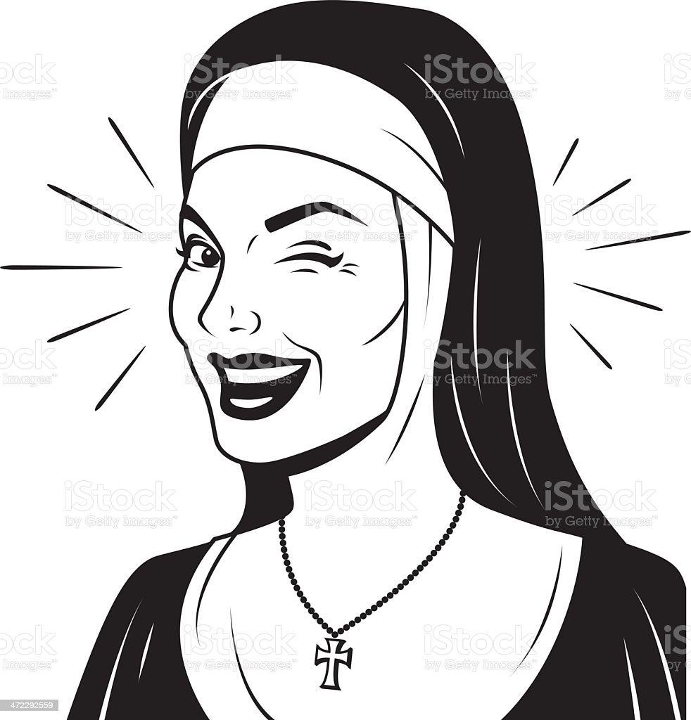 Guiñar el ojo Retro monja - ilustración de arte vectorial