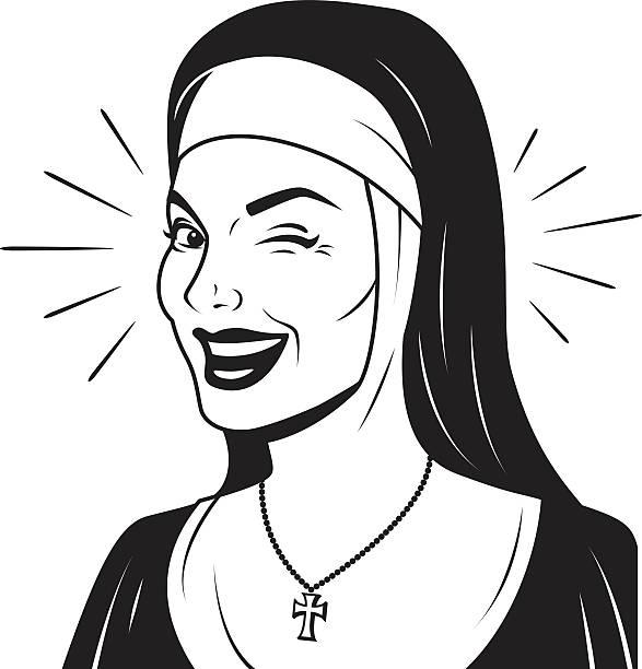 ilustraciones, imágenes clip art, dibujos animados e iconos de stock de guiñar el ojo retro monja - hermana