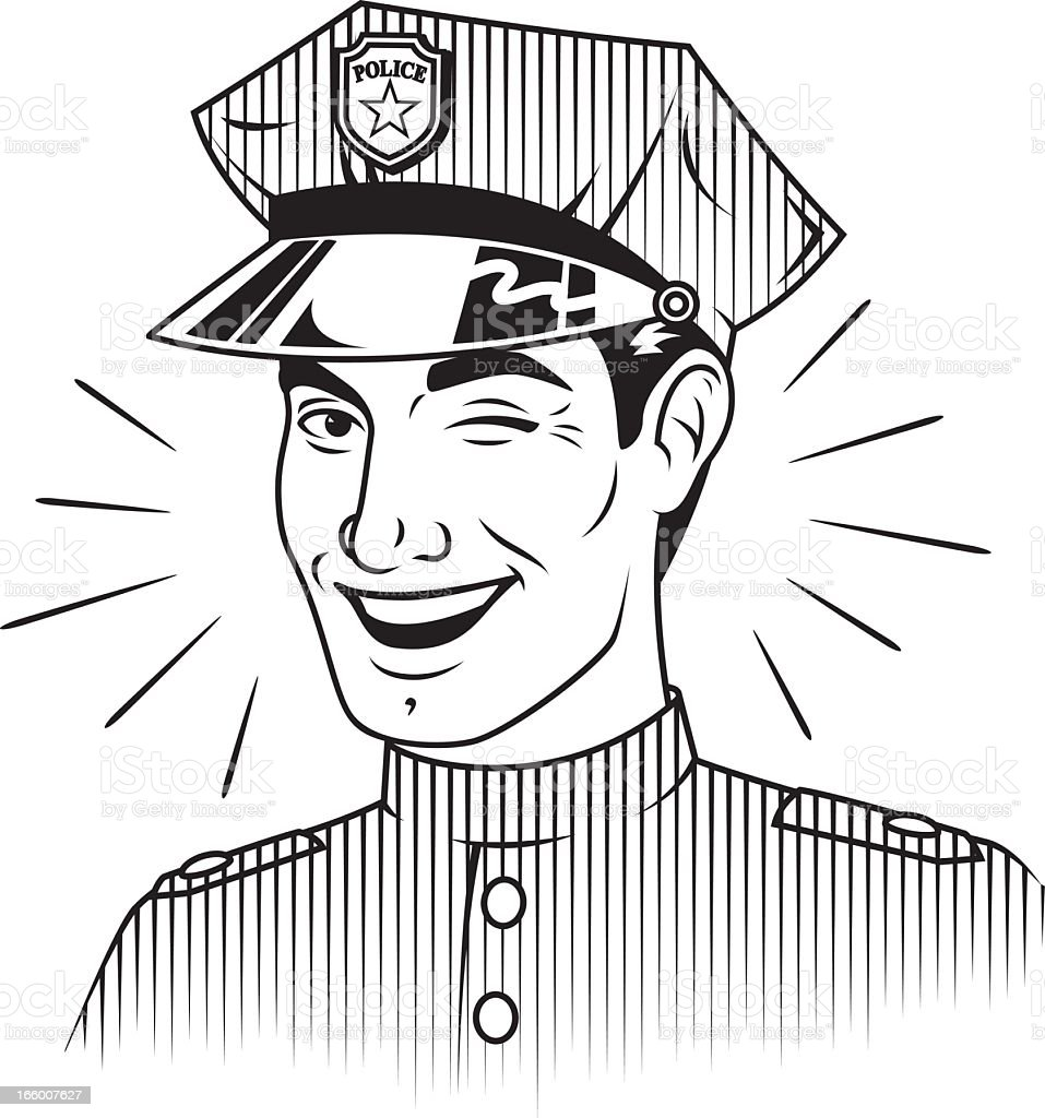 Winking Retro Policeman royalty-free winking retro policeman stock vector art & more images of adult