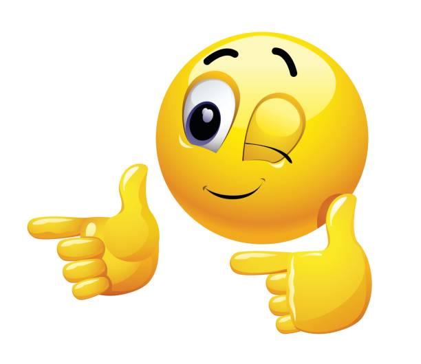 illustrazioni stock, clip art, cartoni animati e icone di tendenza di winking smiley gesturing with his hand. - fare l'occhiolino