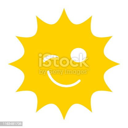 Winking smiley sun icon
