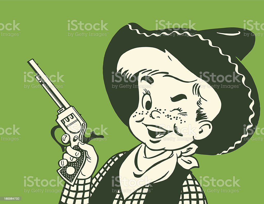Winking Young Cowboy royalty-free stock vector art