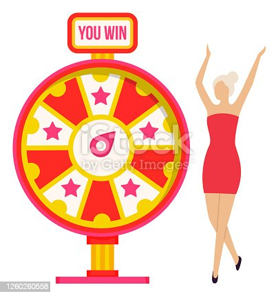 Fortune wheel and win, woman winner with raised hands. Money or prize, girl in winning pose and color cirle or roulette, opportunity and luck. Vector illustration in flat cartoon style