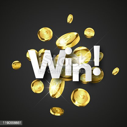 istock Winner background with gold coins 1190558851