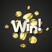 Winner background with gold coins, Jackpot concept vector background.