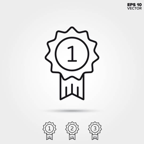 Winner badge line icon vector Badge for winner, second and third place. Modern line icons. EPS 10 vector illustrations. gezond stock illustrations