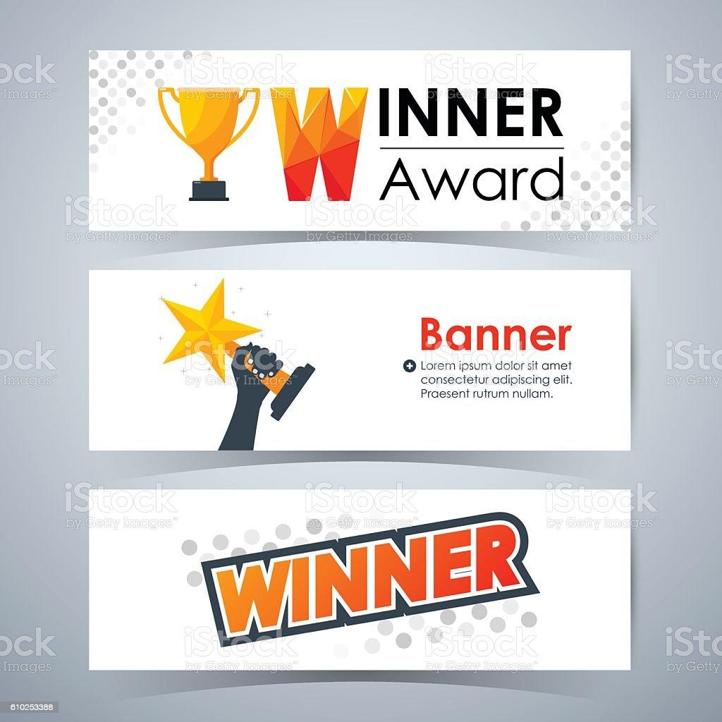 winner banners template layout website vector illustration
