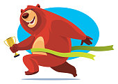 vector illustration of winner bear holding trophy and crossing finish line