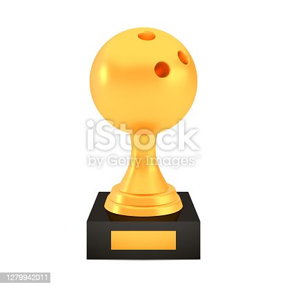 Winner bowling cup award on stand with empty plate, golden trophy logo isolated on white background, photo realistic vector illustration ball with reflection