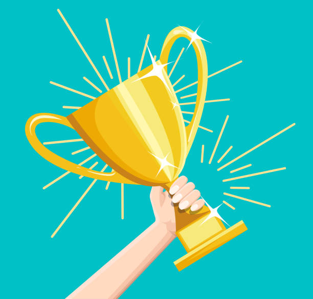 kazanan iş hedef başarı vektör kavramı, düz stil mutlu başarılı işadamı holding altın kupası ödülü elinde, liderlik fikri, ilk yer ödül zafer, rekabet - kupa ödül stock illustrations