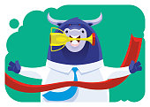 vector illustration of winner businessman bull holding trophy and crossing finish line